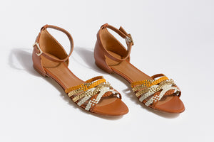 MENPHIS Handbraided Tan Gold Flat Sandals