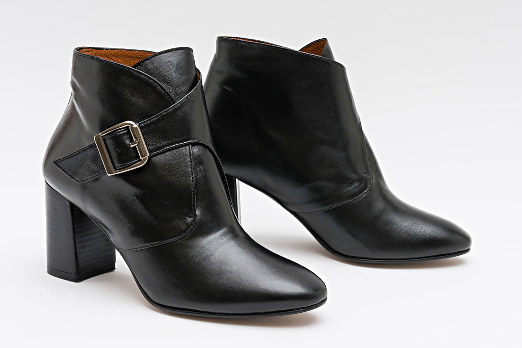 Mina Black Leather Bootie