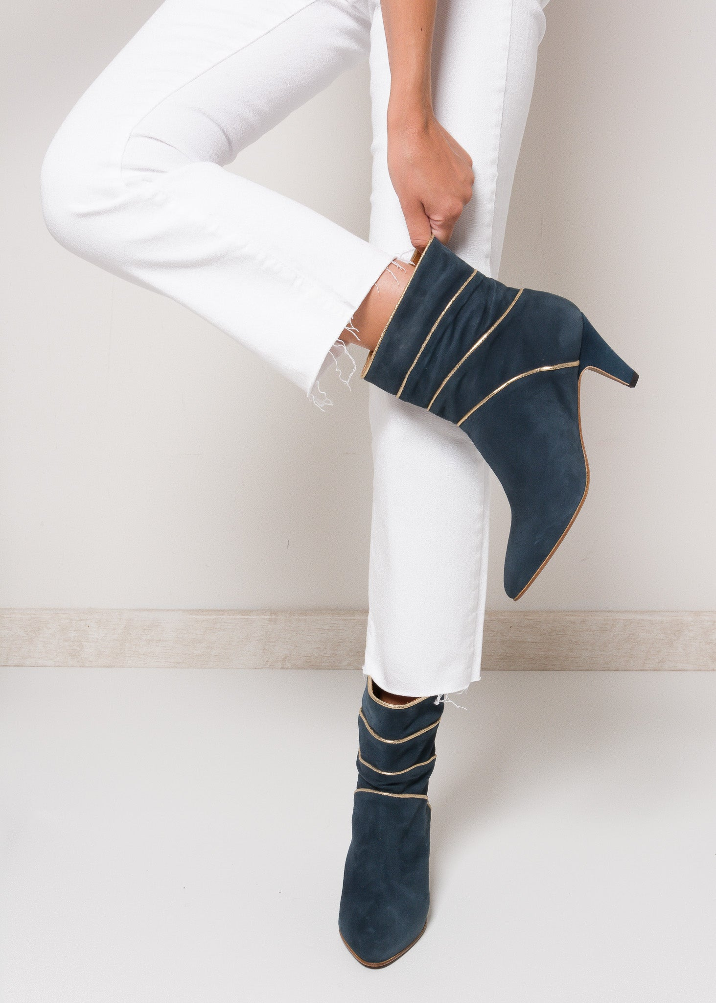 NOAH Suede Midnight Blue Pixie Boot