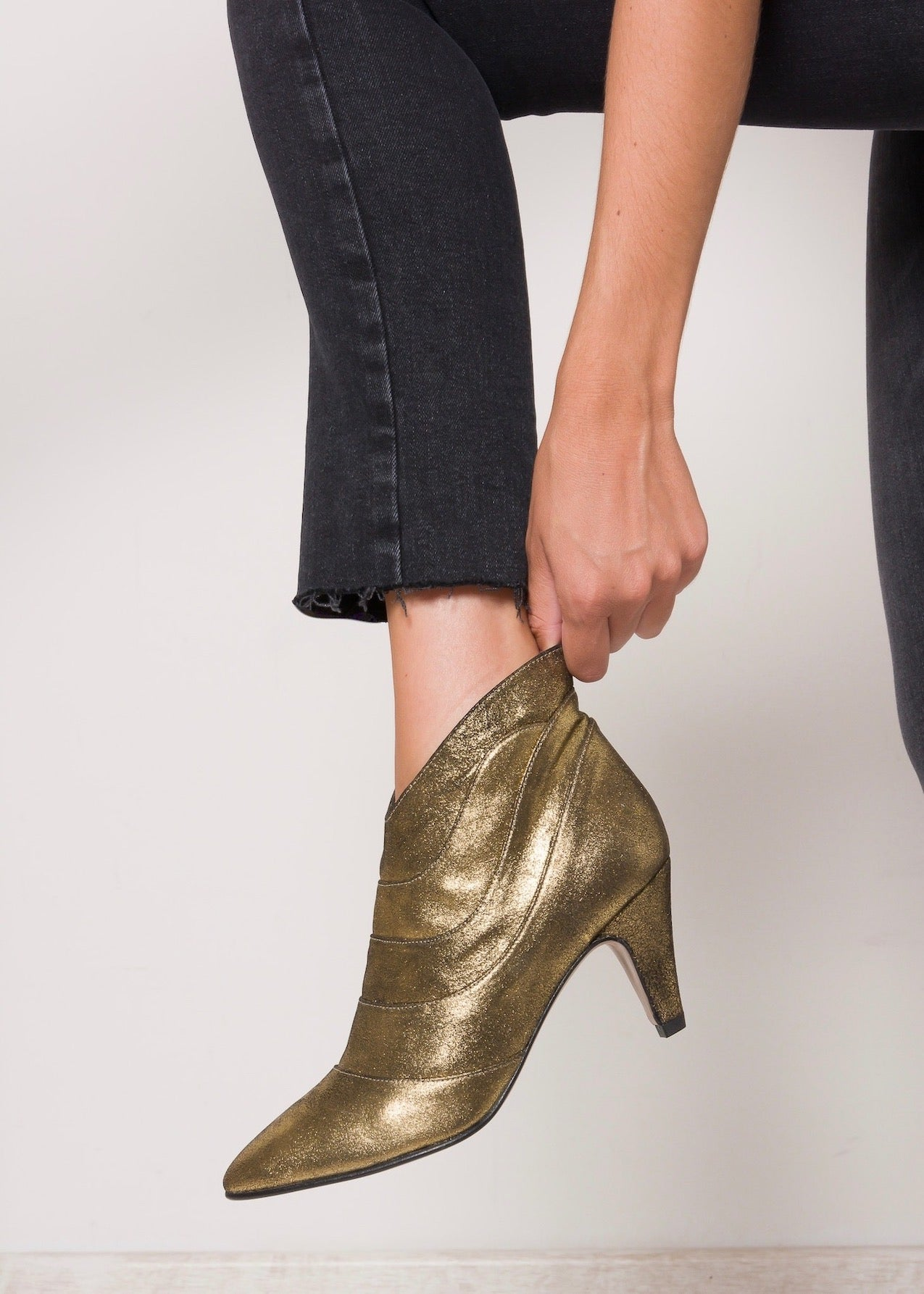 OLYMPIA Black Gold Ankle Booties