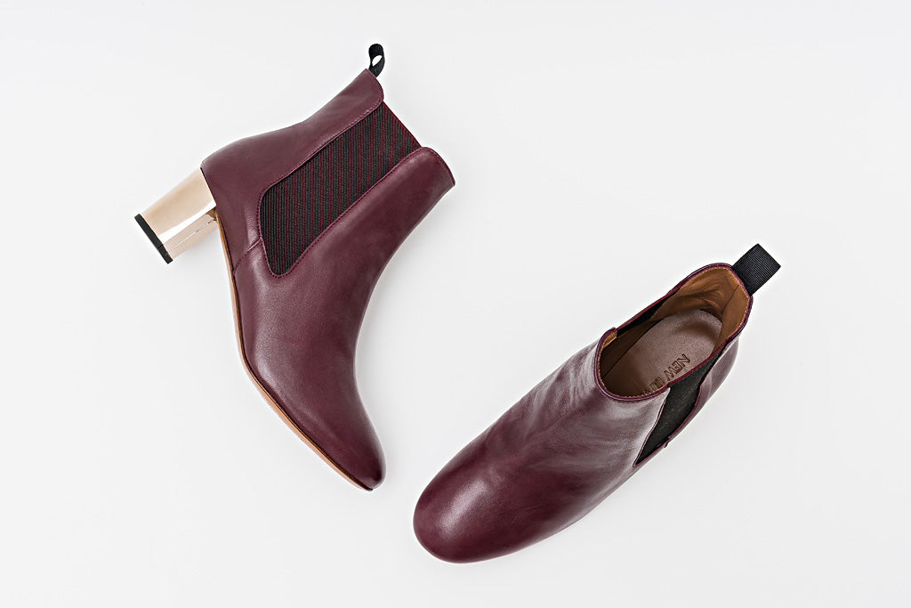 Odelle Bordeaux Chelsea Boot Metal Heel
