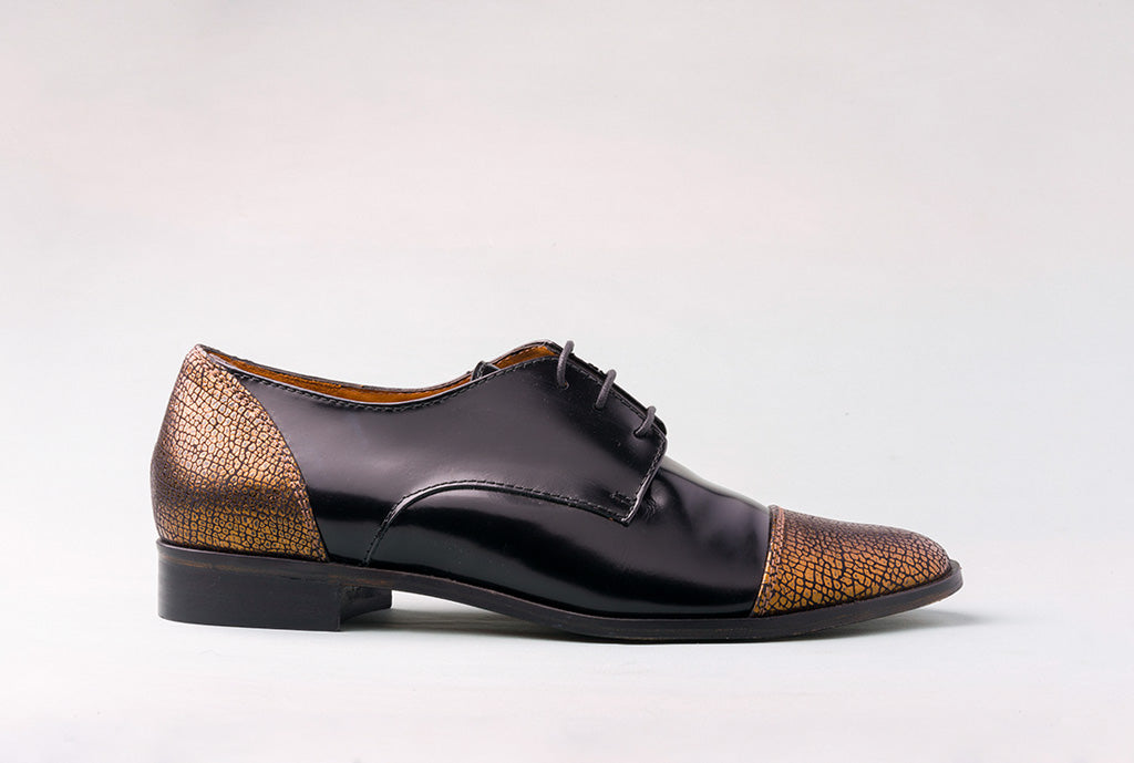 RENE Black & Metallic Cap Toe Brogue