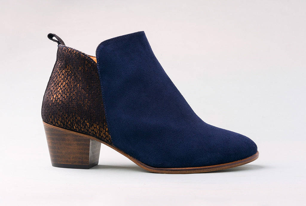 WALLACE Velour Navy Ankle Boot