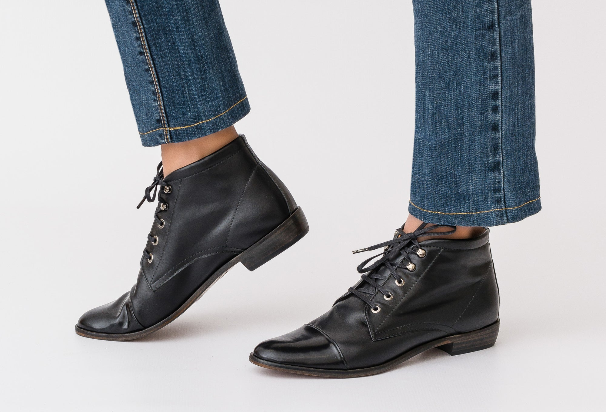 NORMA Black Leather Lace Up Boot