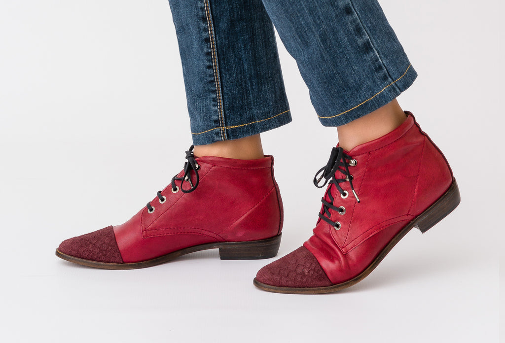 Norma Bordeaux Lace Up Boot