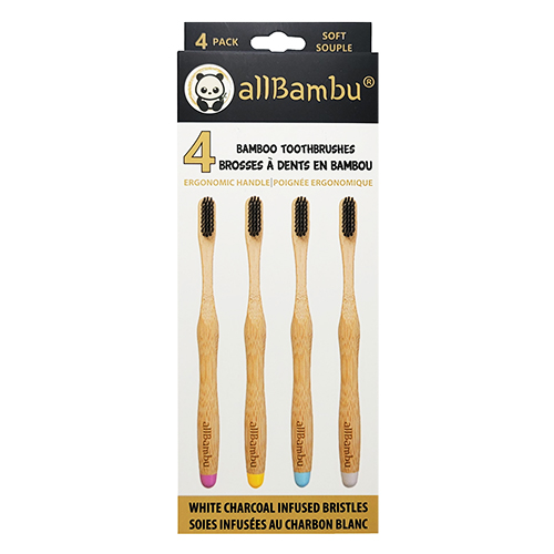 Bamboo Toothbrush 4-Pack - Soft or Medium Bristles
