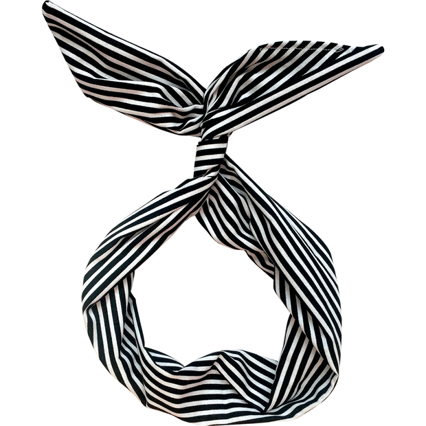 Black and White Striped Wire Headband