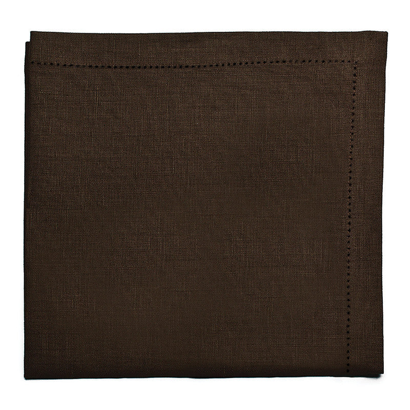 Pure Large Napkin with Button Stitch - Deep Brown