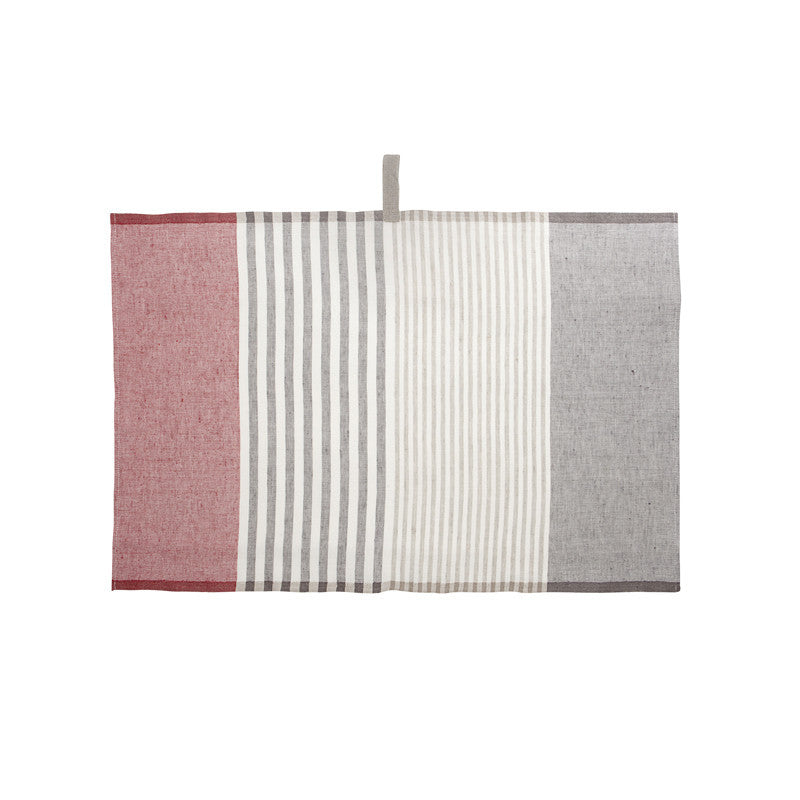 Pastry Stripe Kitchen Towels - Slate Gray & Pure Red  | Teroforma