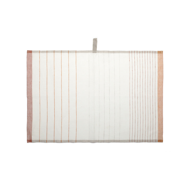 Pastry Stripe Kitchen Towels - Pumpkin Orange & Paprika Red | Teroforma