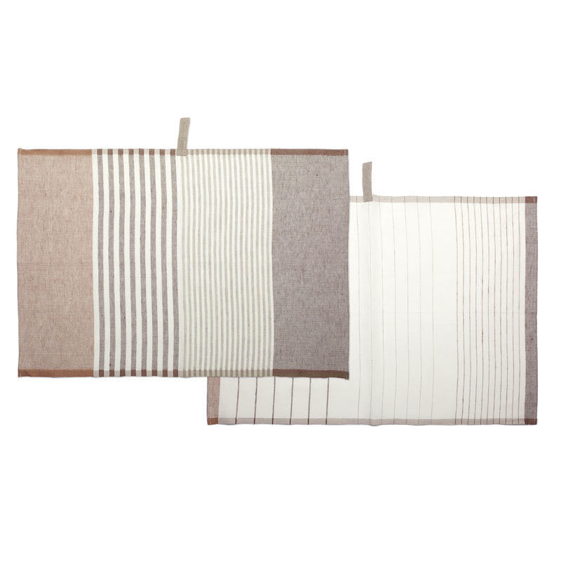 Pastry Stripe Kitchen Towels - Cinnamon Brown & Cocoa Brown  | Teroforma