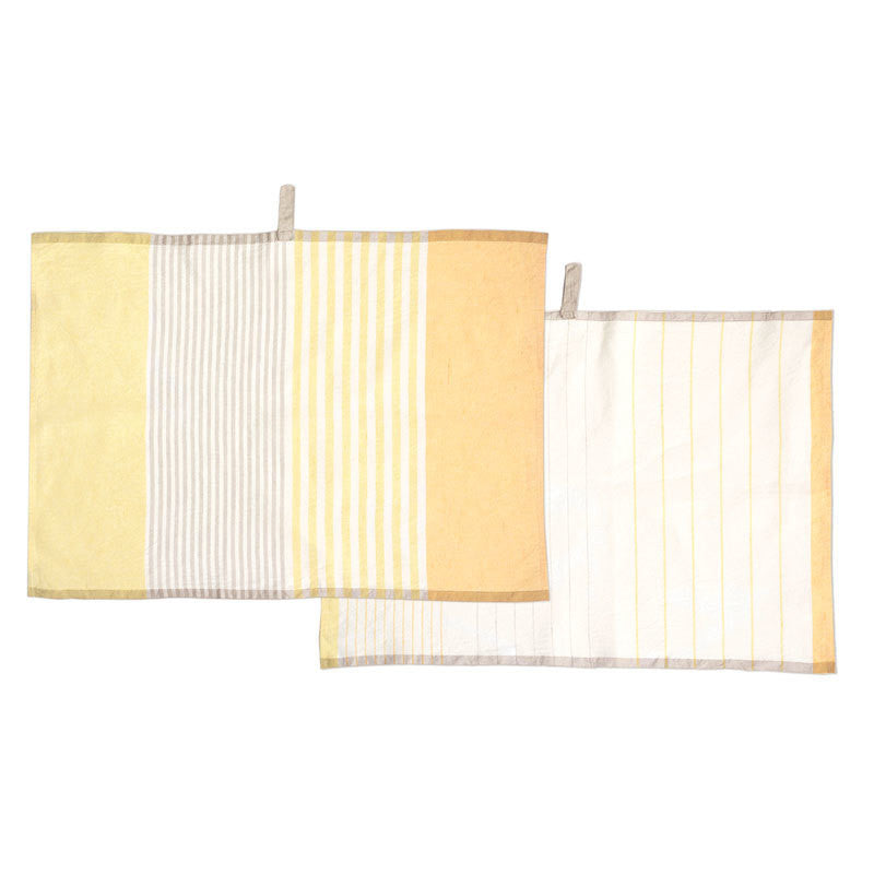Pastry Stripe Kitchen Towels- Lemon & Marigold Yellow