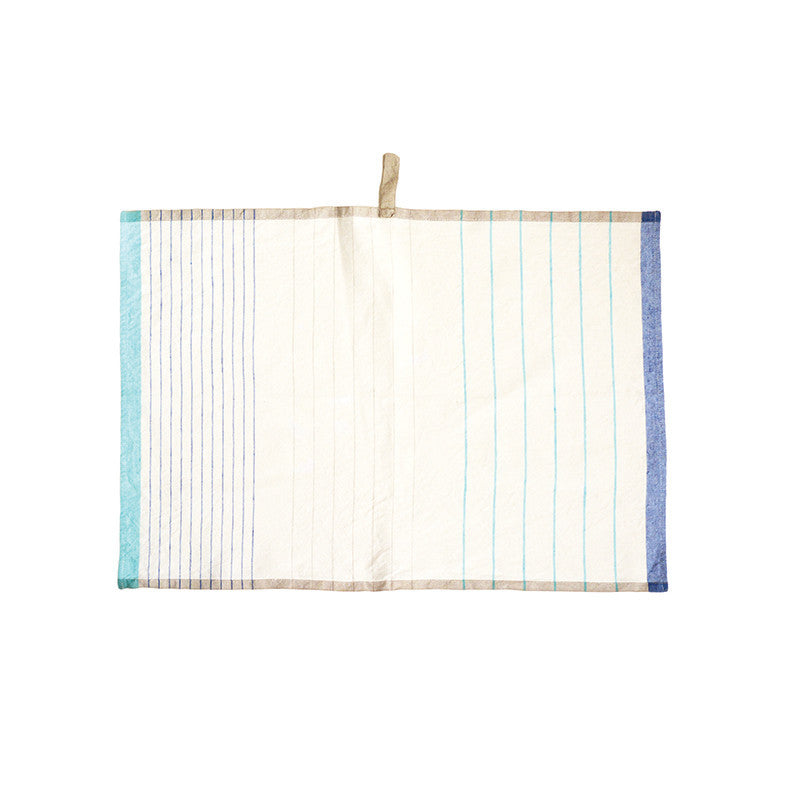 Pastry Stripe Kitchen Towels - Sapphire & Aqua Blue  | Teroforma