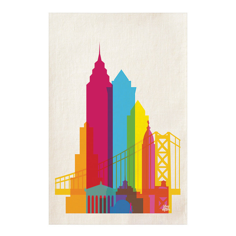 Tea Towel, City Shapes - Philadelphia  | Teroforma