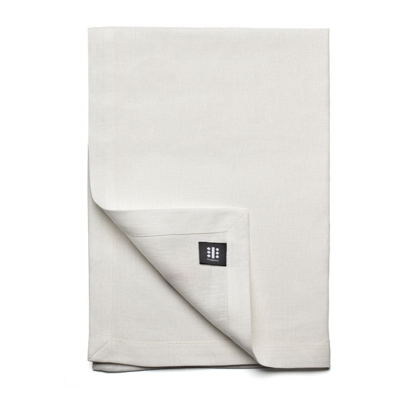 Pure Linen Cross Runner - Soft White