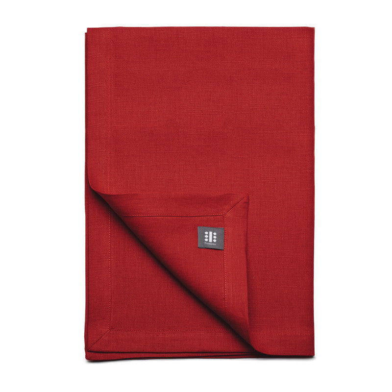 Pure Linen Cross Runner - Pure Red | Teroforma