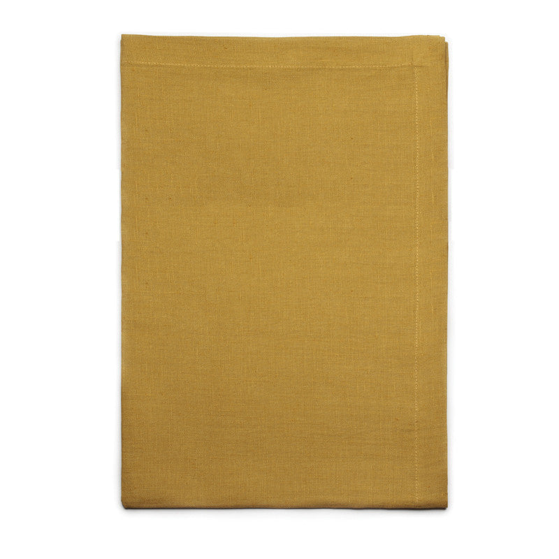 Pure Linen Cross Runner - Rustic Yellow | Teroforma