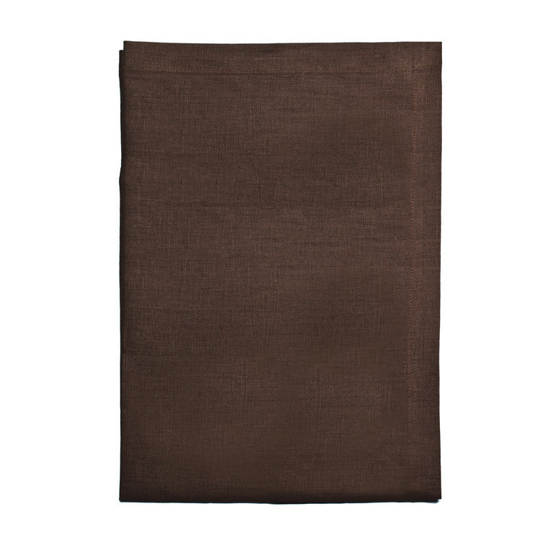 Pure Linen Cross Runner - Deep Brown | Teroforma