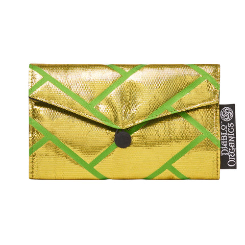Lime & Gold Metallic Recycled Kimono Jewelry Pouch