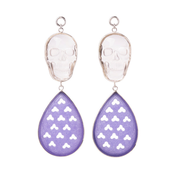 Crystal & Purple Chalcedony Skull Dangles