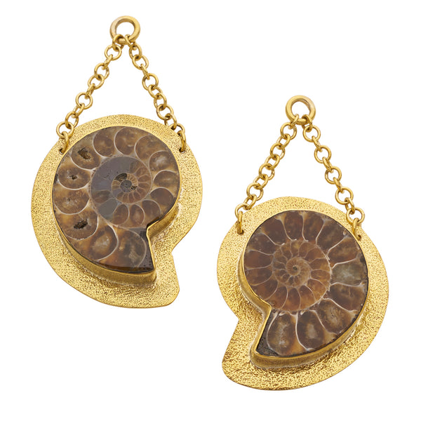 Distressed Solid Brass Fossil Ammonites