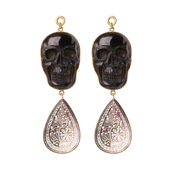Black Obsidian & Black Mother of Pearl Skull Dangles