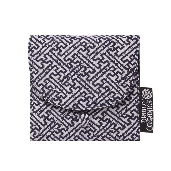Navy & White Sayagata Jewelry Pouch