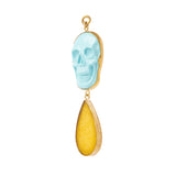 Turquoise & Lemon Quartz Skull Dangles