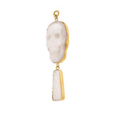 Cloudy Quartz & Mother of Pearl Skull Dangles