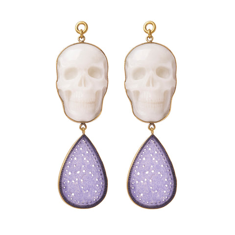 Cloudy Quartz & Purple Chalcedony Skull Dangles