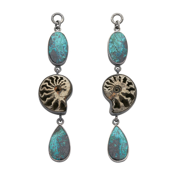 Oxidized Sterling Silver Chrysocolla, Pyrite, & Ammonite Dangles