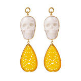 Cloudy Quartz & Lemon Quartz Skull Dangles