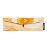 Orange, Gold, Floral Recycled Kimono Jewelry Pouch