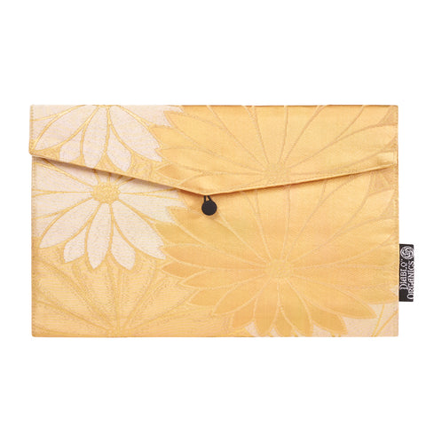 Golden Flower Recycled Kimono Jewelry Pouch
