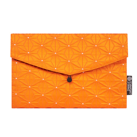 Orange Geometric Flower Recycled Kimono Jewelry Pouch