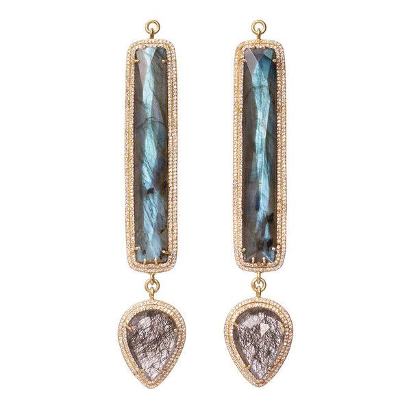Faceted Labradorite & Tourmalated Quartz Double Zircon Pave