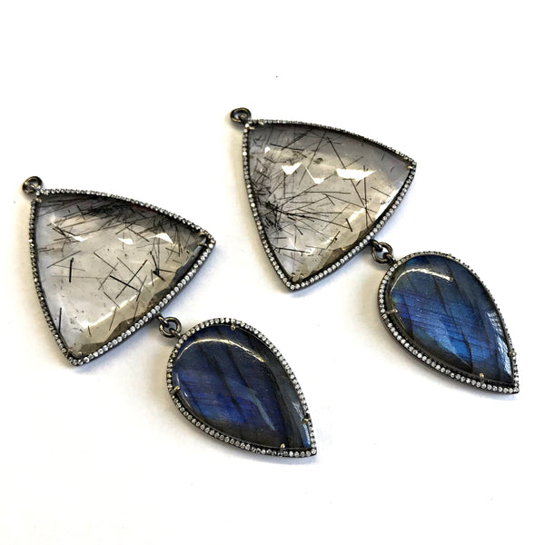 Double Labradorite and Faceted Tourmalated Quartz