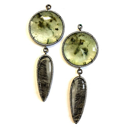 Double Faceted Prehnite and Tourmalated Quartz