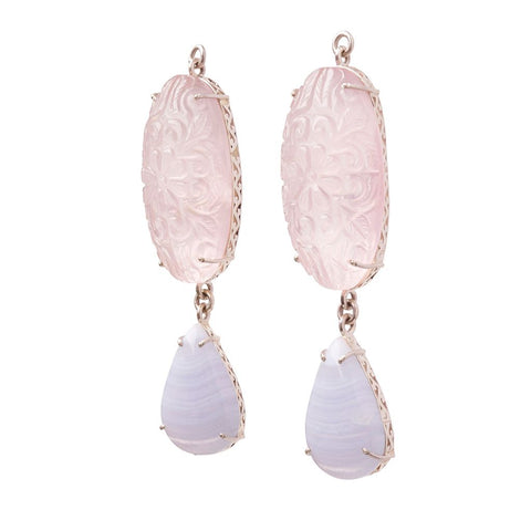 Carved Rose Quartz & Blue Lace Agate Jollie