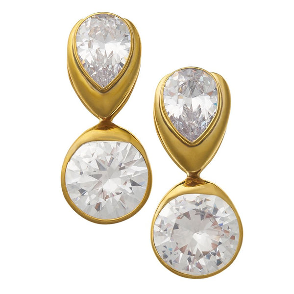 Solid Brass Fused Weights with Teardrop/Round Crystal CZ