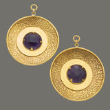 Solid Brass 25mm Faceted Amethyst Discs (Large)