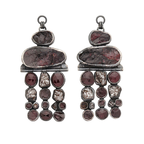 Rough Face Garnet, Black Tourmaline & Meteorite Ear Weights