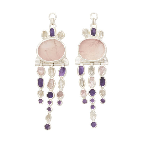 Rough Face Rose Quartz, Amethyst & Herkimer Diamond Ear Weights