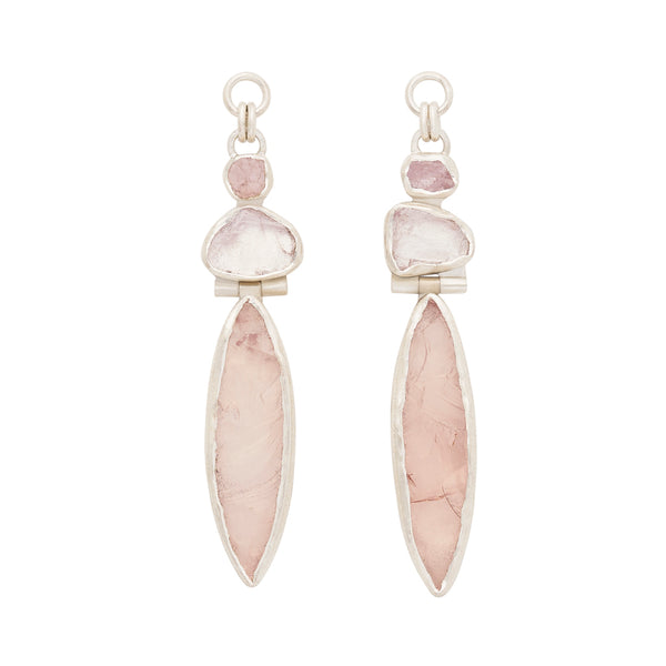Rough Face Rose Quartz & Quartz Ear Weights