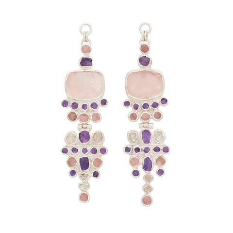 Rough Face Rose Quartz & Morganite Beryl Ear Weights