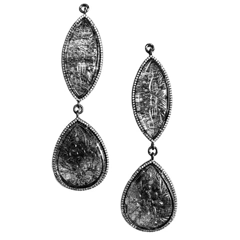 Carved Tourmalated Quartz Set In Black Rhodium Sterling Silver Pave