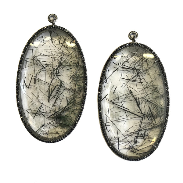Tourmalated Quartz Set In Black Rhodium Sterling Silver Pave