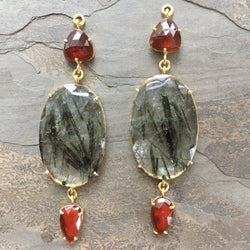 Hessonite Garnet & Green Tourmalated Quartz Gold Vermeil Jollie