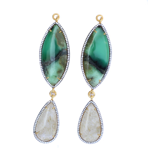 Chrysoprase & Rutilated Quartz Set In Gold Vermeil Zircon Pave
