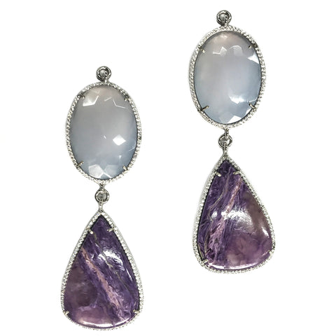 Moonstone & Purple Charoite Set In Sterling Silver Zircon Pave